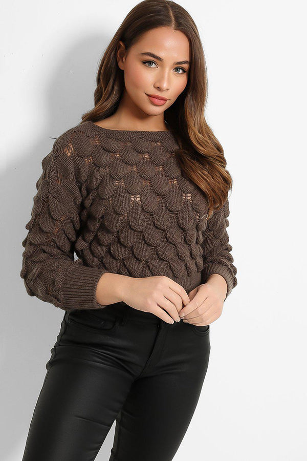Dark Taupe Bubble Knit Cropped Pullover - SinglePrice