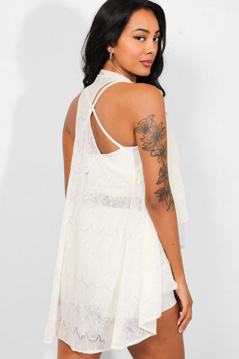 Cream Delicate Lace Open Front Sleeveless Cardigan - SinglePrice