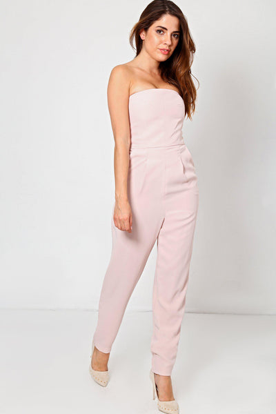 Light Pink Tailored Bandeau Jumpsuit-SinglePrice
