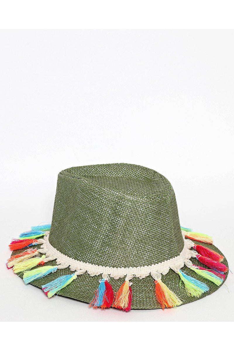 Multicolour Tassels Large Brim Green Straw Hat - SinglePrice