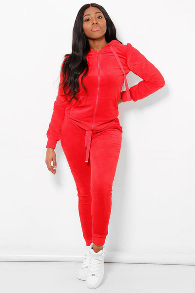 Faux Fur Sleeves Fur Velour 2 Piece Tracksuit-SinglePrice