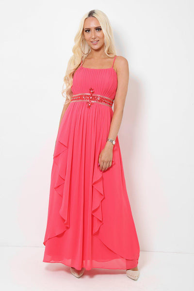 Crystals Embellished Waist Coral Maxi Dress With Scarf-SinglePrice