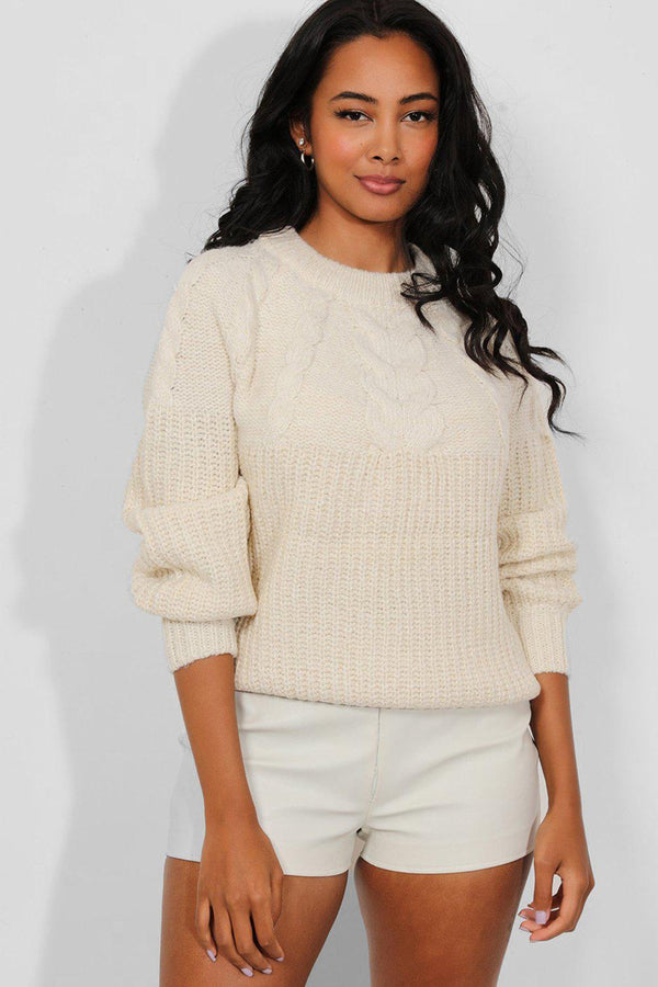 Cream Lurex Stripe Chunky Cable Knit Pullover