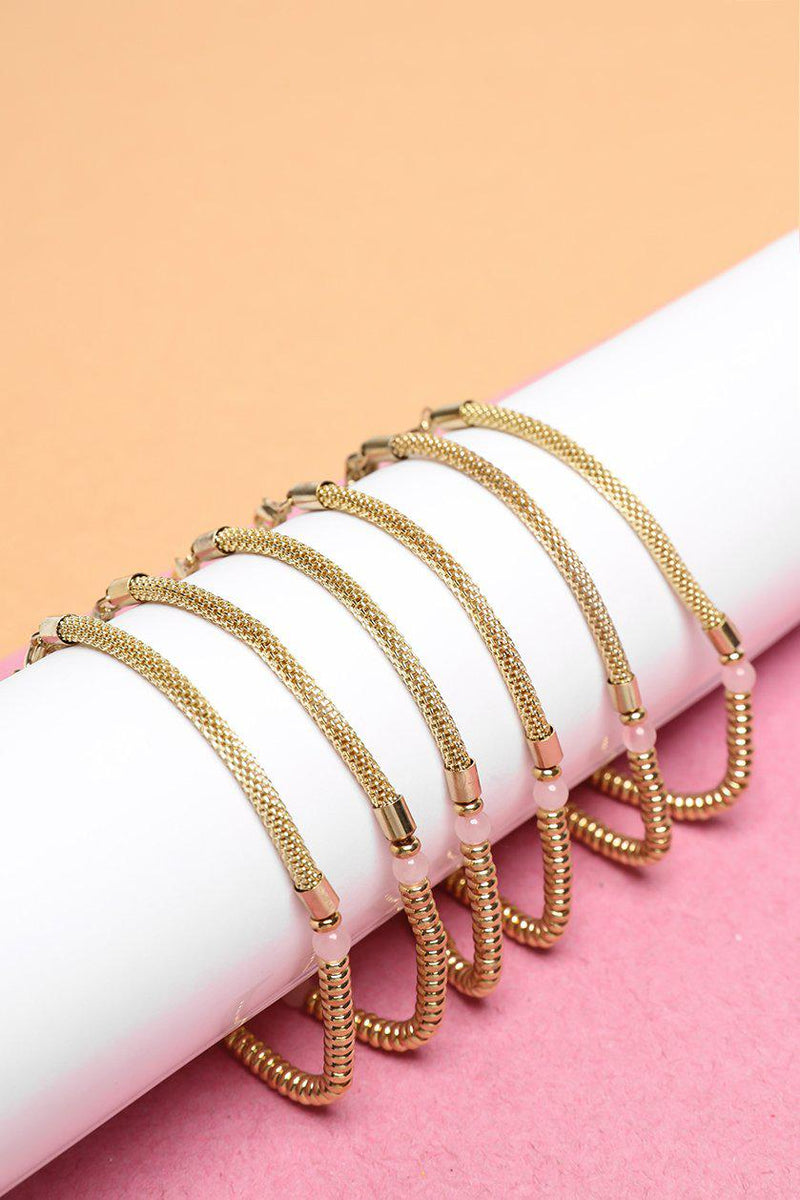 Pack Of 6 Gold Mesh Chain & Pink Bead Bracelets - SinglePrice