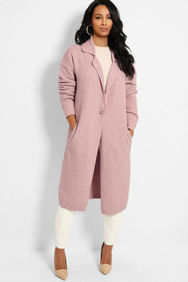 Pink One Button Speckled Cardigan - SinglePrice