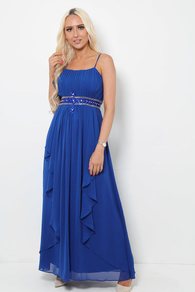 Crystals Embellished Waist Royal Blue Maxi Dress With Scarf-SinglePrice