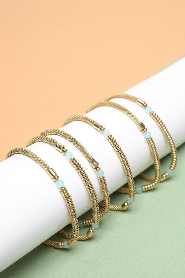 Pack Of 6 Gold Mesh Chain & Sea Foam Bead Bracelets-SinglePrice