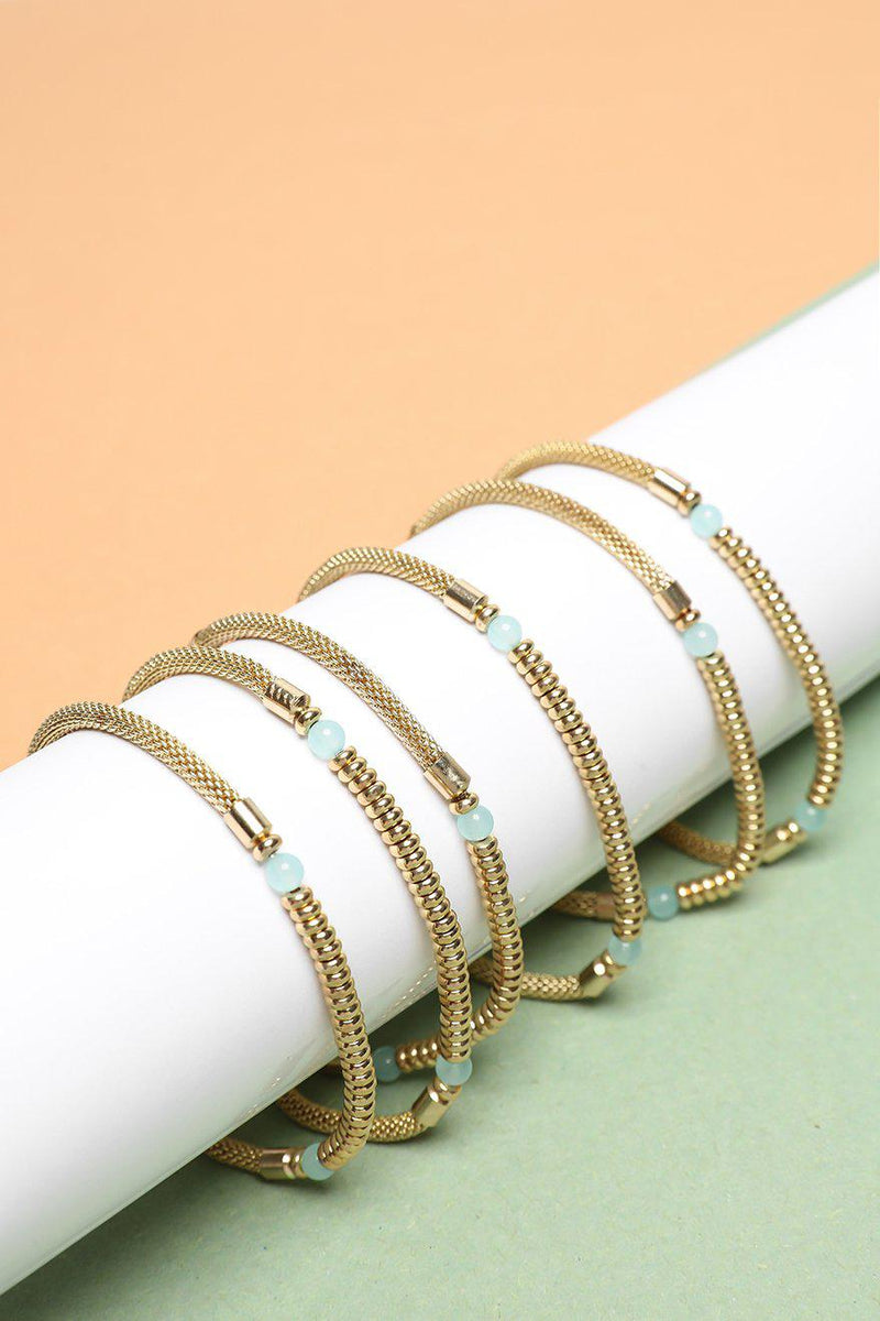 Pack Of 6 Gold Mesh Chain & Sea Foam Bead Bracelets - SinglePrice