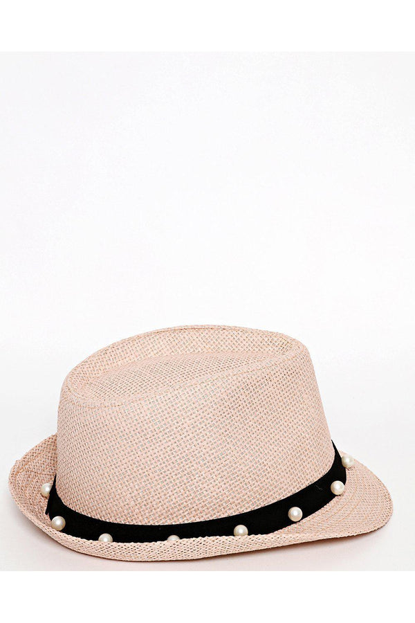 Pearls embellished Trim Pink Straw Hat-SinglePrice
