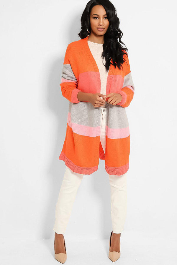 Orange Colour-blocking Chunky Knit Open Front Cardigan - SinglePrice