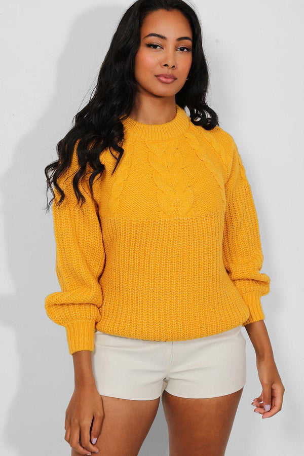 Yellow Lurex Stripe Chunky Cable Knit Pullover