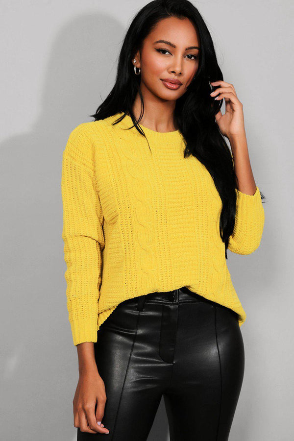 Yellow Bleached Velvet Cable Knit Pullover - SinglePrice