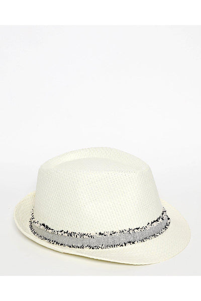 Distressed Trim Off White Straw Hat-SinglePrice