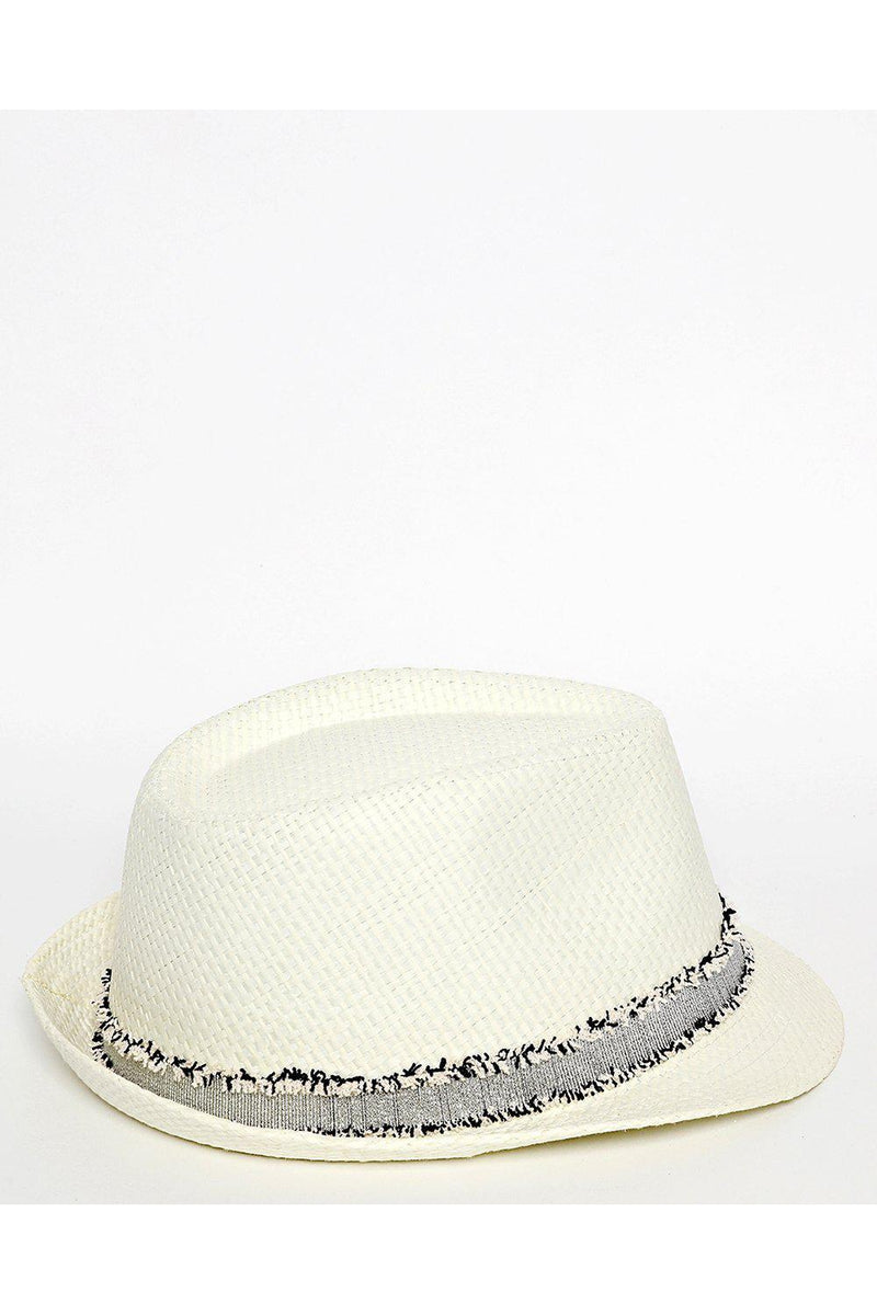 Distressed Trim Off White Straw Hat - SinglePrice