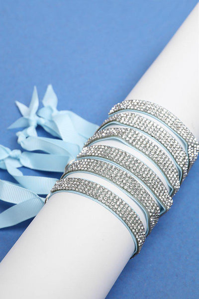 Pack Of 6 Encrusted Adjustable Light Blue Velvet Bracelets