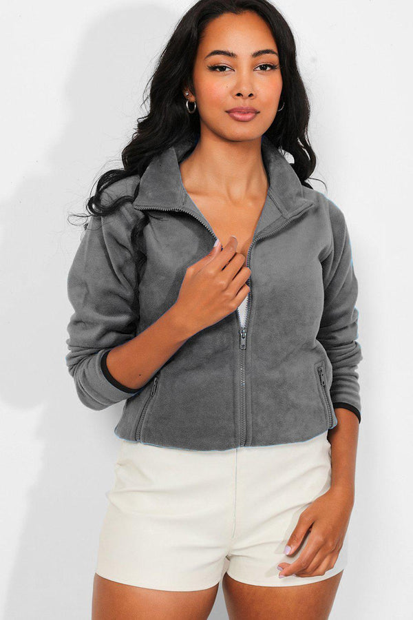 Grey Full Zip Micro Fleece Jacket
