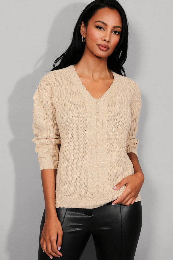 Beige Braided Knit Pullover-SinglePrice