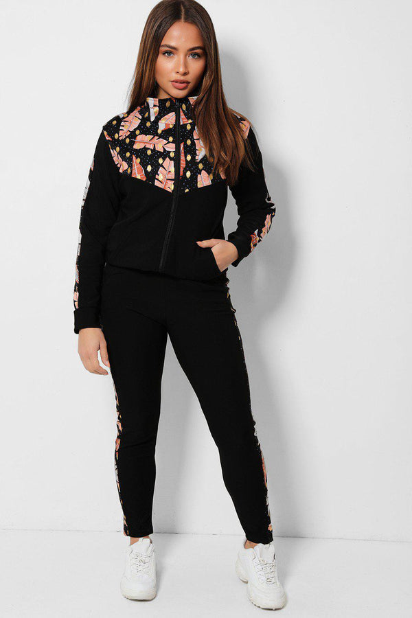 Black Leaves Print High Neck 2 Piece Tracksuit - SinglePrice
