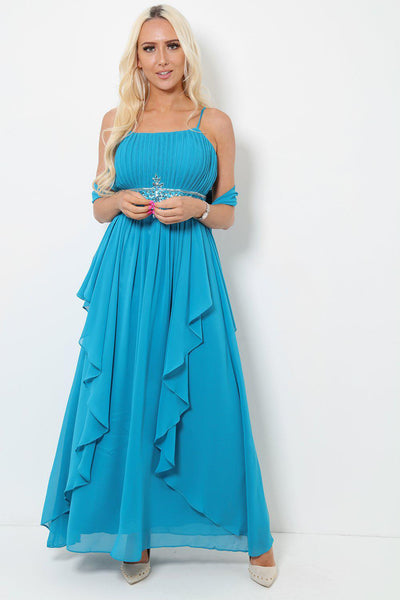 Crystals Embellished Waist Teal Maxi Dress With Scarf-SinglePrice
