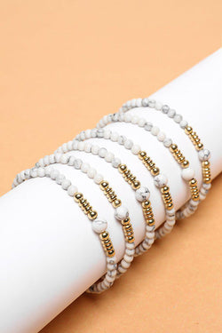 Pack Of 6 Gold & Marble Beads Bracelets - SinglePrice