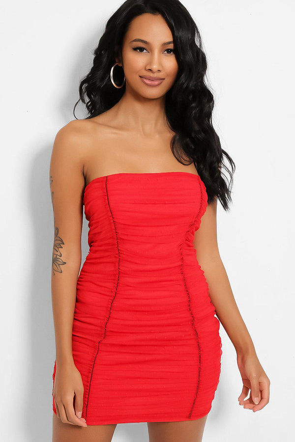 Red Dobby Mesh Bandeau Mini Dress - SinglePrice