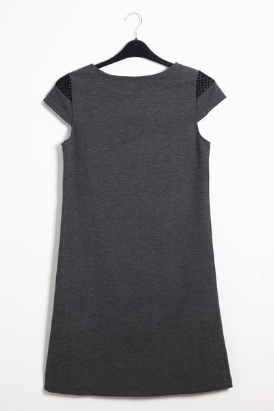 Textured Front Dark Grey Shift Dress-SinglePrice