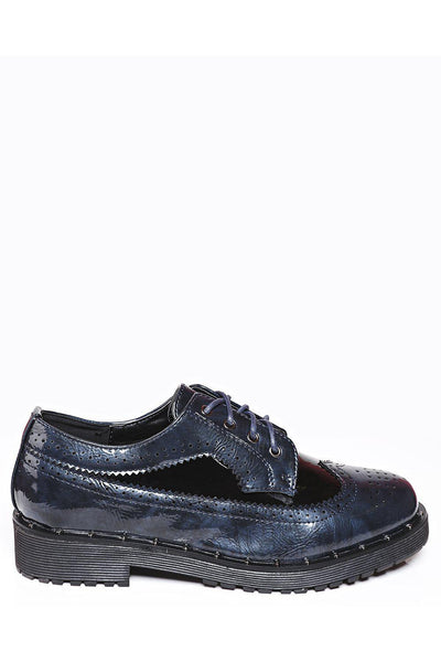 Contrast Panel Navy Brogue Shoes-SinglePrice