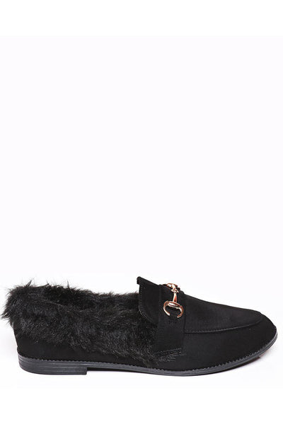 Black Fur Trim Horsebit Buckle Flats-SinglePrice
