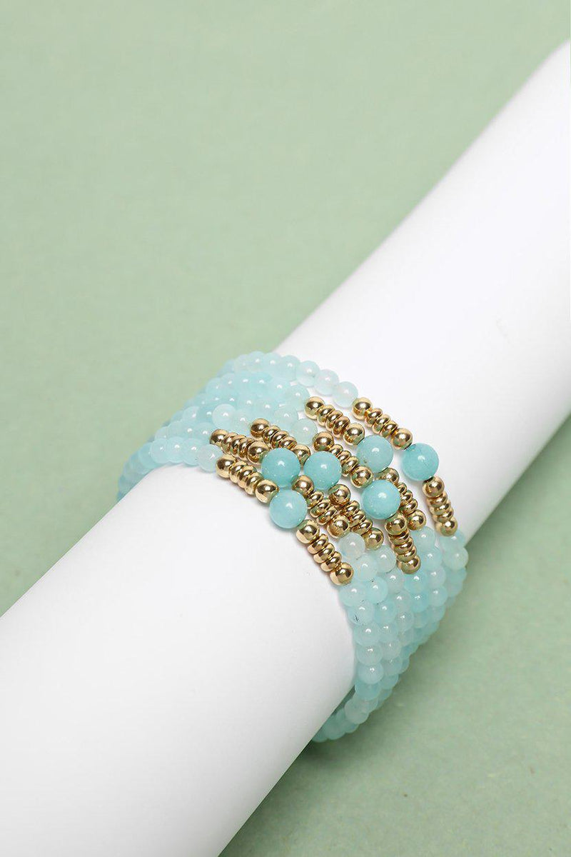 Pack Of 6 Gold & Pale Blue Beads Bracelets - SinglePrice