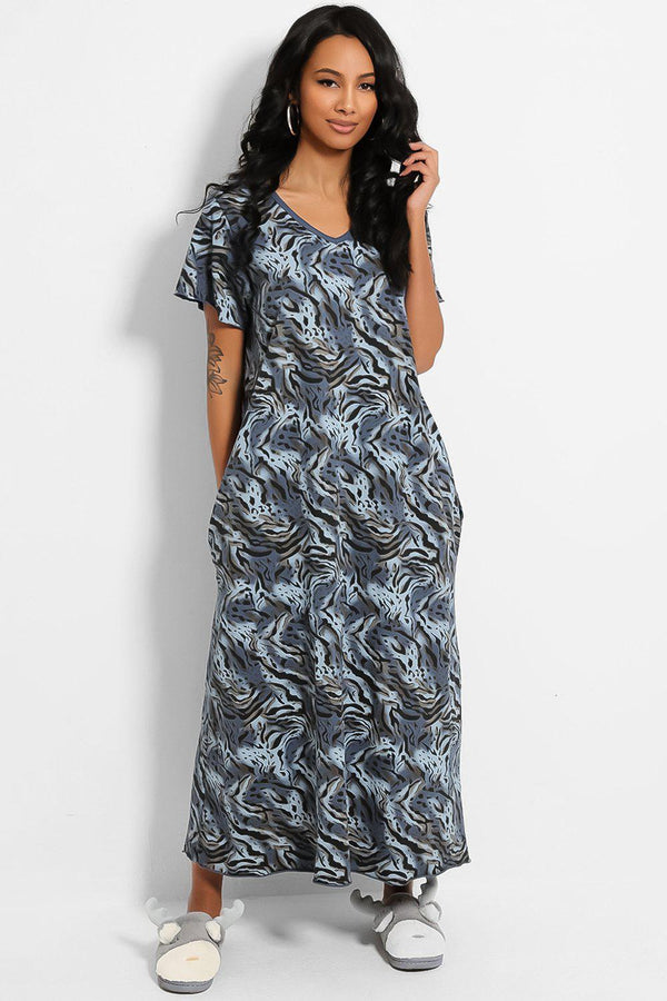 Blue Animal Print Cotton Blend Maxi Lounge Dress - SinglePrice