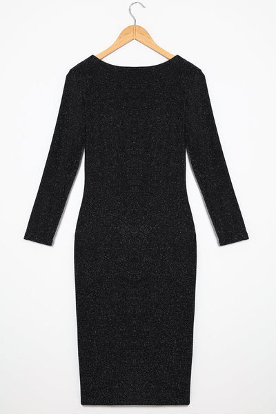 Black Speckle Shimmer Midi Bodycon Dress-SinglePrice