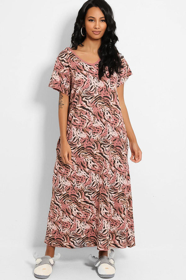Pink Animal Print Cotton Blend Maxi Lounge Dress - SinglePrice