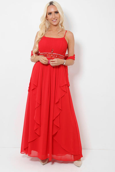 Crystals Embellished Waist Red Maxi Dress With Scarf-SinglePrice