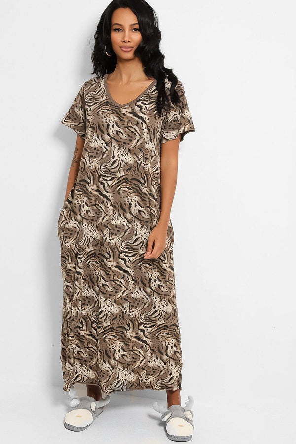 Brown Animal Print Cotton Blend Maxi Lounge Dress - SinglePrice