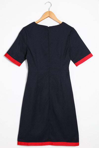 Red Trim Navy Dress-SinglePrice