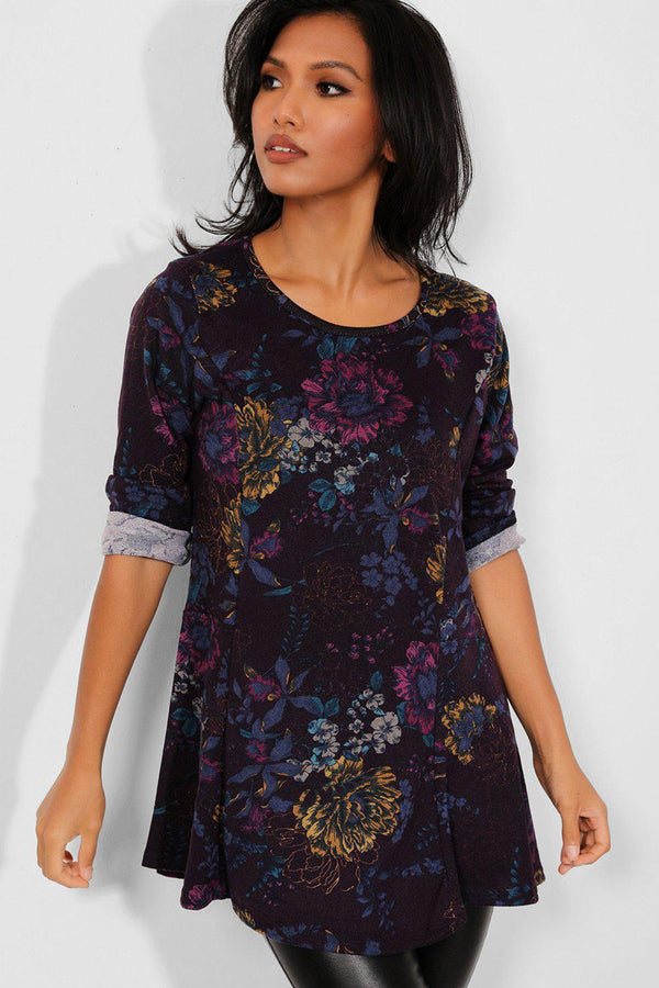 Purple Flower Print Soft Touch Tunic Top - SinglePrice