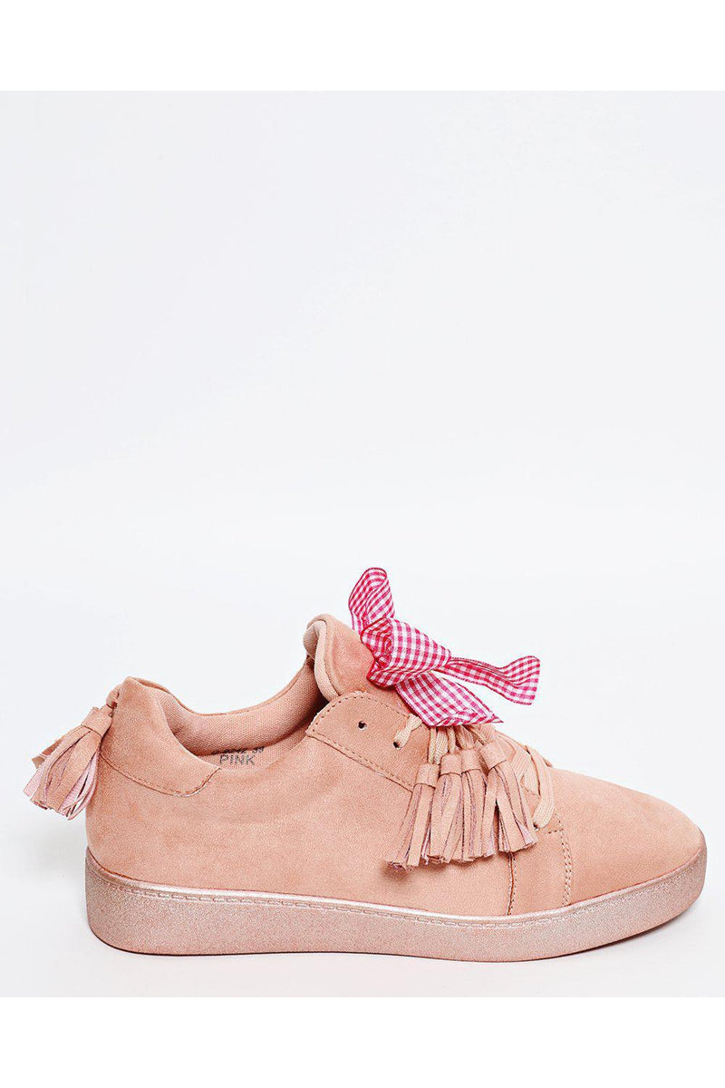 Pink Suede Checked Bow Trainers - SinglePrice