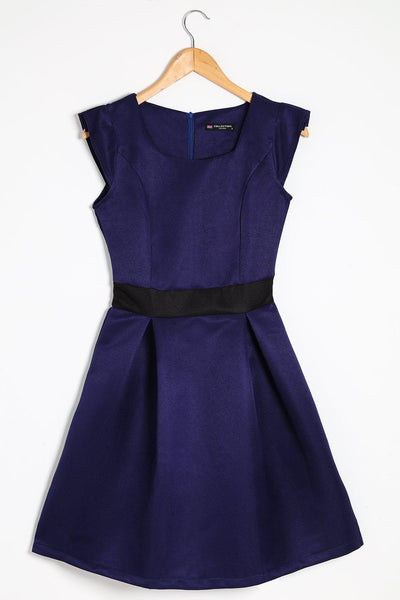 Contrast Waistline Navy Dress-SinglePrice