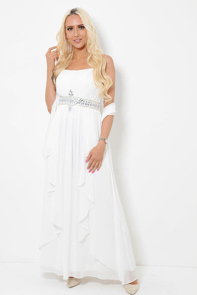 Crystals Embellished Waist White Maxi Dress With Scarf-SinglePrice