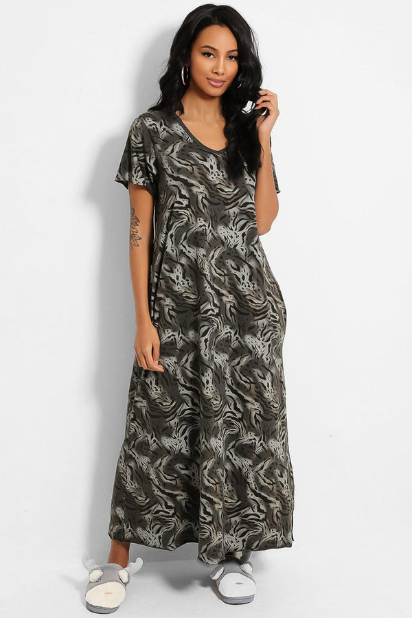 Grey Animal Print Cotton Blend Maxi Lounge Dress - SinglePrice