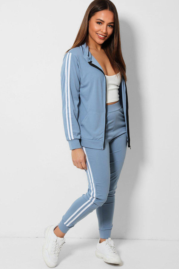 Blue Twin White Stripe Lightweight 2 Piece Tracksuit - SinglePrice