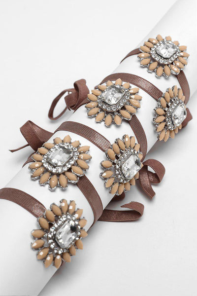 Pack Of 6 Brown Ribbon & Large Brooch Bracelets