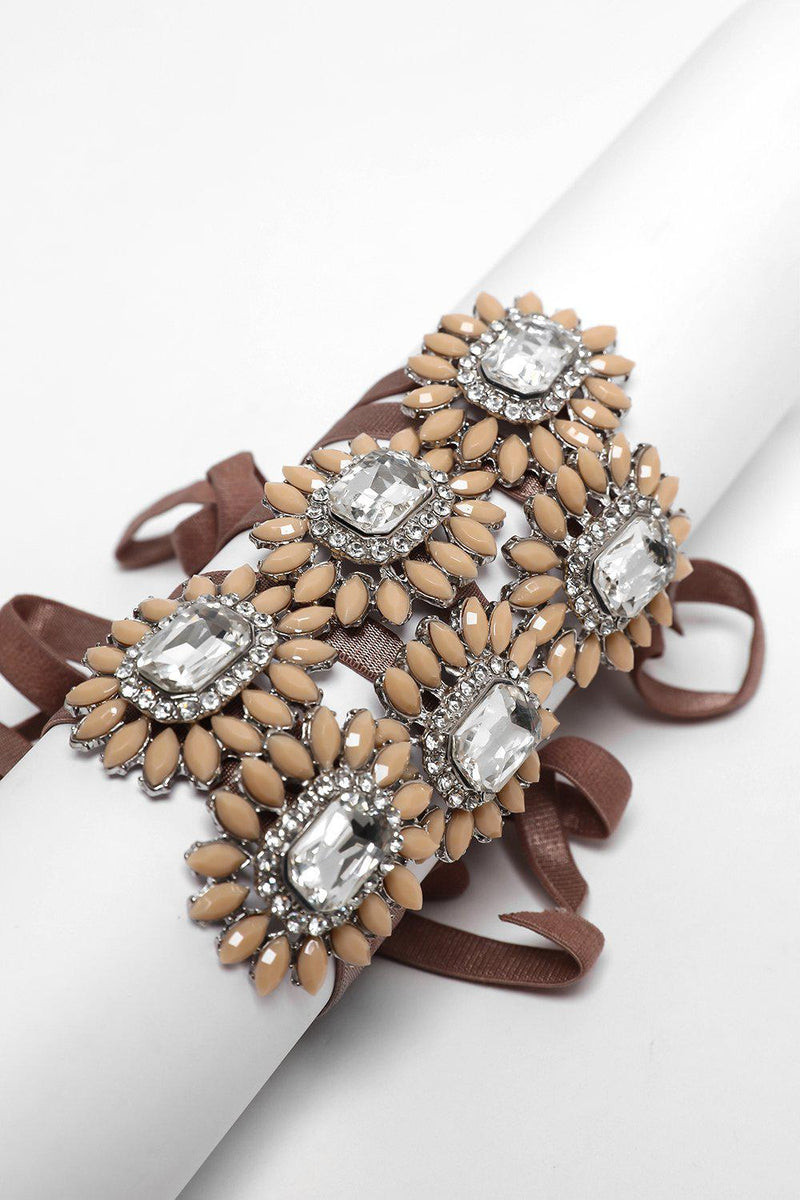 Pack Of 6 Brown Ribbon & Large Brooch Bracelets - SinglePrice