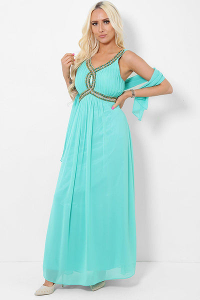 Embellished Bust Mint Maxi Dress-SinglePrice