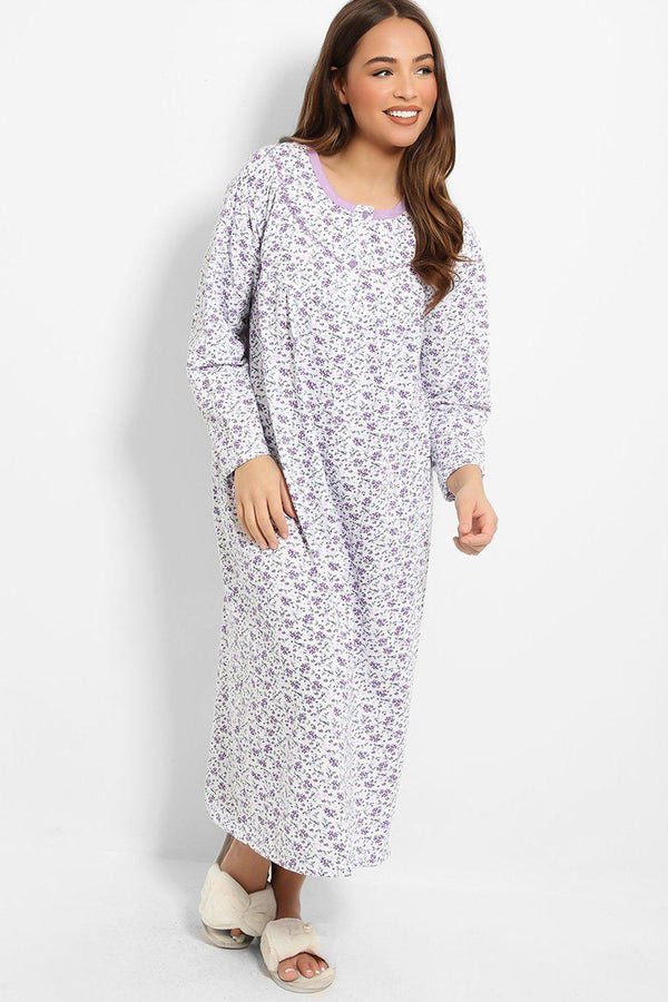 Purple Floral Print Embroidery Detail Nightie Dress - SinglePrice