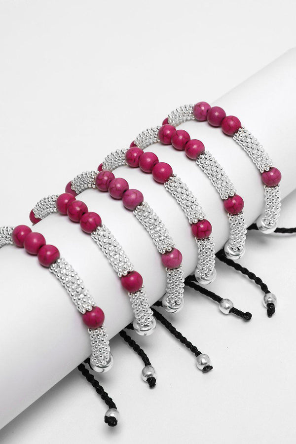 Pack Of 6 Purple Beads Silver Beaded Rope Sliding Knot Bracelet - SinglePrice
