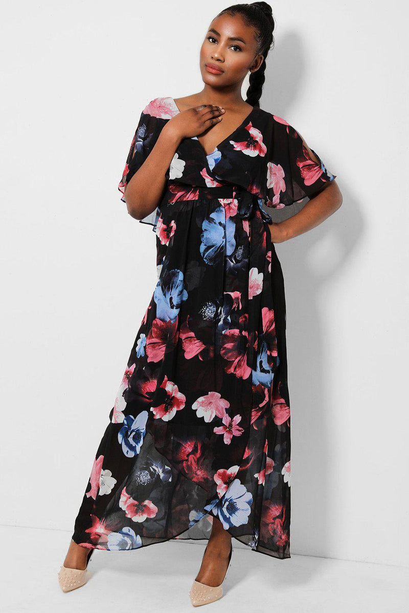 Black Floral Print Batwing Sleeves Chiffon Maxi Dress - SinglePrice