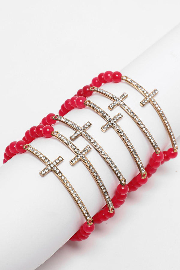 Pack Of 6 Pink Beads With Golden Crystal Cross Bracelets - SinglePrice