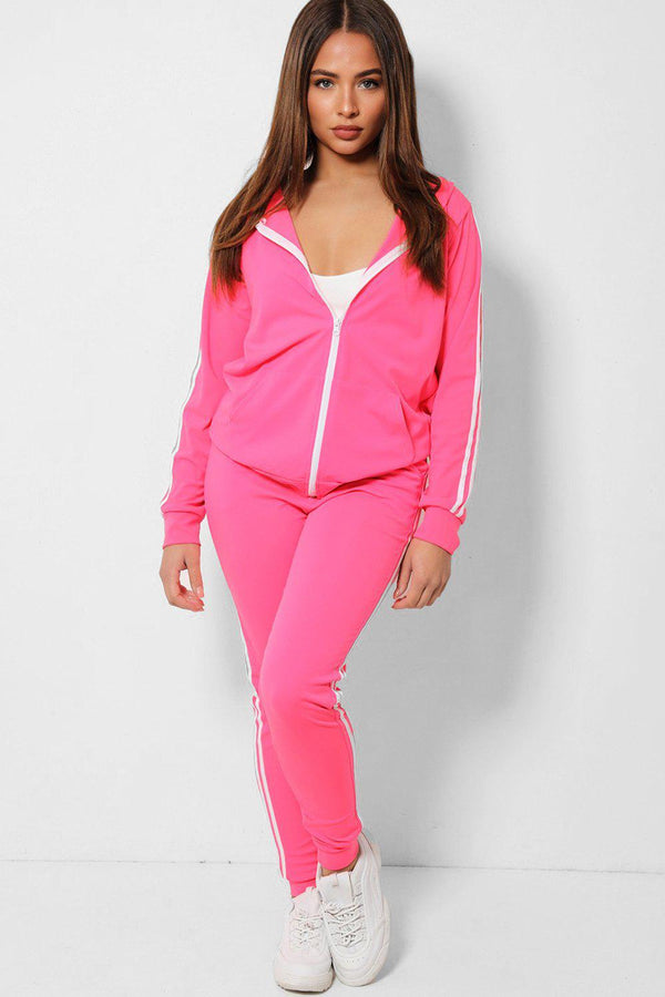 Hot Pink Twin White Stripe Lightweight 2 Piece Tracksuit - SinglePrice
