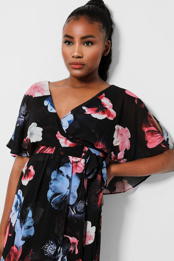 Black Floral Print Batwing Sleeves Chiffon Maxi Dress